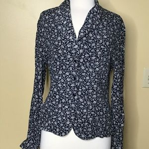 Evan-Picone Long Sleeve Button Up Floral Top (6)
